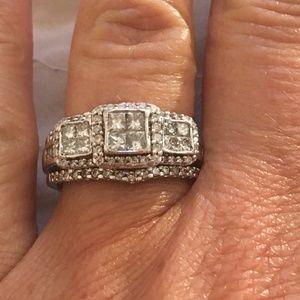 Solid 14K White Gold Genuine Diamond Wedding Set
